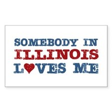 Somebody in Illinois Loves Me Rectangle Decal