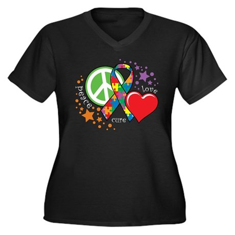 Autism: Peace Love Cure Women's Plus Size V-Neck D