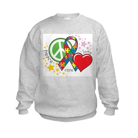 Autism: Peace Love Cure Kids Sweatshirt