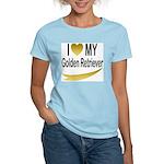 I Love My Golden Retriever Women's Pink T-Shirt
