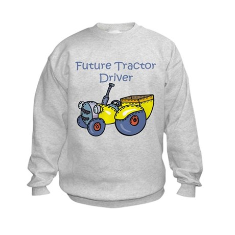 Cartoon Future Tractor Driver Kids Sweatshirt
