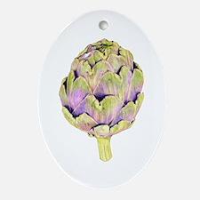 Purple Artichoke Oval Ornament