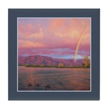 Rainbow at Sunset Tile Coaster