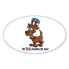 Patriotic Dog (1st Fourth Of July) Oval Decal