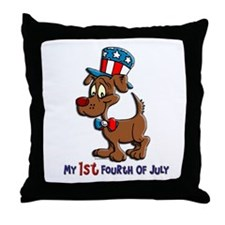 Patriotic Dog (1st Fourth Of July) Throw Pillow