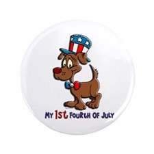 """Patriotic Dog (1st Fourth Of July) 3.5"""" Button"""