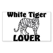 White Tiger Lover Rectangle Decal