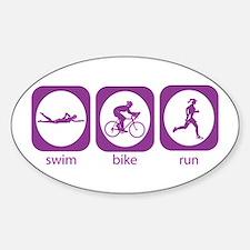 Swim Bike Run Oval Decal