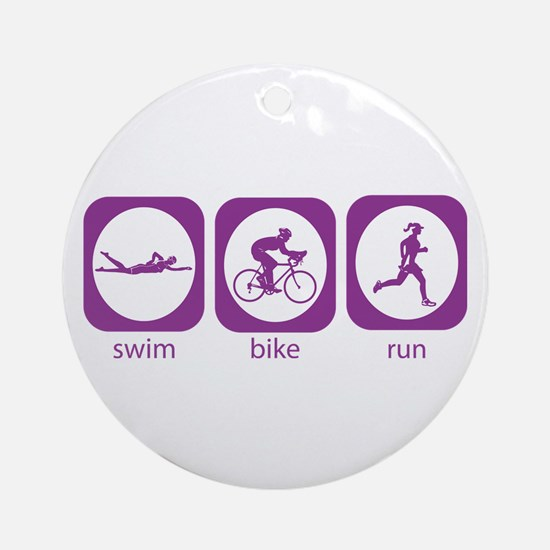 Swim Bike Run Ornament (Round)