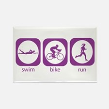 Swim Bike Run Rectangle Magnet