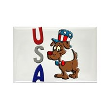 Patriotic Dog (USA) Rectangle Magnet