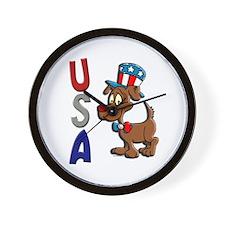 Patriotic Dog (USA) Wall Clock