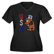 Patriotic Dog (USA) Women's Plus Size V-Neck Dark