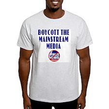 Boycott Mainstream Media Ash Grey T-Shirt