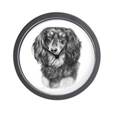 Longhaired Dachshund #1 - Bla Wall Clock