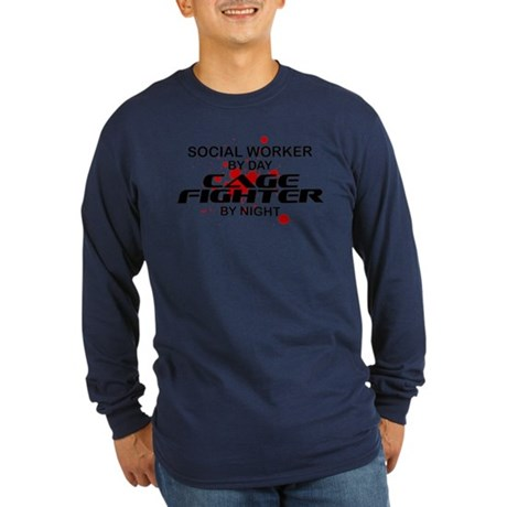 Social Wrker Cage Fighter by Night Long Sleeve Dar