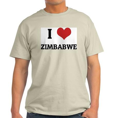 I Love Zimbabwe Ash Grey T-Shirt