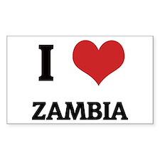 I Love Zambia Rectangle Decal