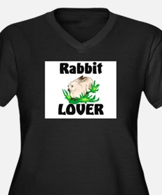 Rabbit Lover Women's Plus Size V-Neck Dark T-Shirt