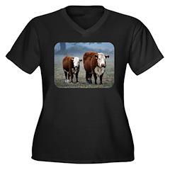 Cows Women's Plus Size V-Neck Dark T-Shirt