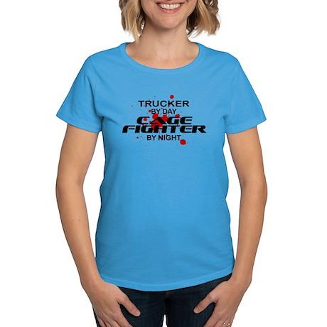 Trucker Cage Fighter by Night Women's Dark T-Shirt