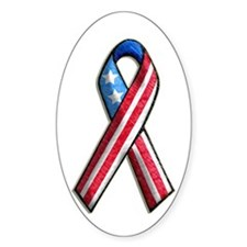 American Flag 3D Ribbon 1 Oval Decal