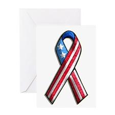 American Flag 3D Ribbon 1 Greeting Card