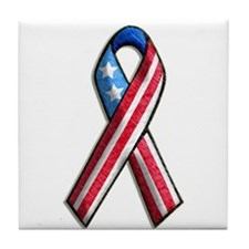 American Flag 3D Ribbon 1 Tile Coaster