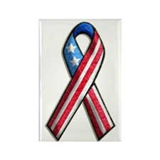 American Flag 3D Ribbon 1 Rectangle Magnet (100 pa
