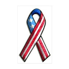 American Flag 3D Ribbon 1 Rectangle Sticker 10 pk