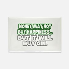 """Money, Happiness, Gin"" Rectangle Magnet"