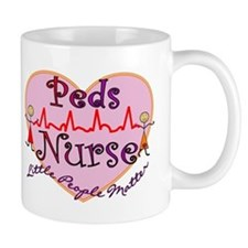 peds nurse with QRS HEART RED Mugs