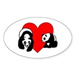 Panda Bear Love Sticker (Oval 50 pk)