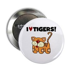 """I Love Tigers 2.25"""" Button (10 pack)"""