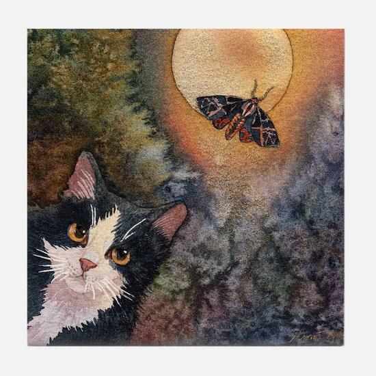 Tuxedo Cat, Moonlight, and Mo Tile Coaster