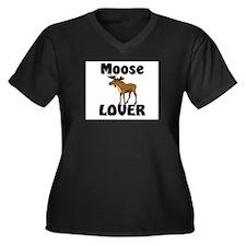 Moose Lover Women's Plus Size V-Neck Dark T-Shirt