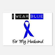 I Wear Blue For My Husband Postcards (Package of 8