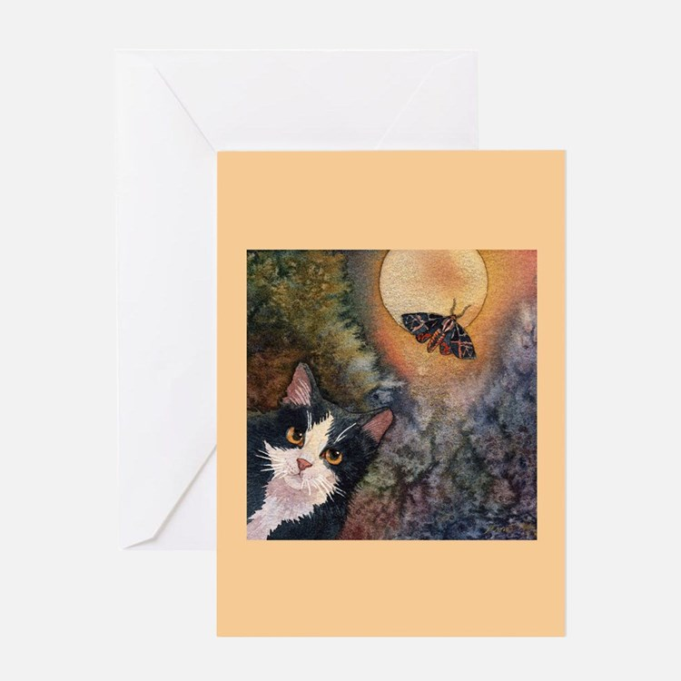 Tuxedo Cat, Moonlight, and Mo Greeting Card