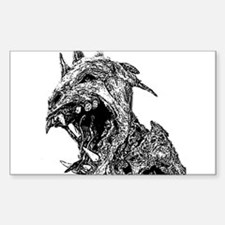 black and white chupacabra Rectangle Decal