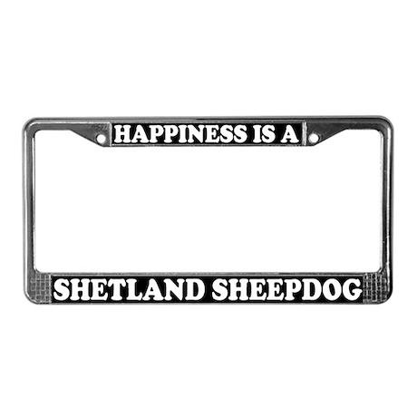 Happiness Is Shetland Sheepdog License Plate Frame