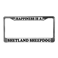 Happiness Is Shetland Sheepdog License Plate Frame