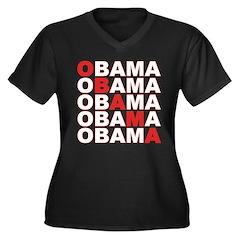Obama Obama Women's Plus Size V-Neck Dark T-Shirt