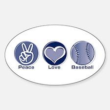 Peace Love Baseball Oval Decal