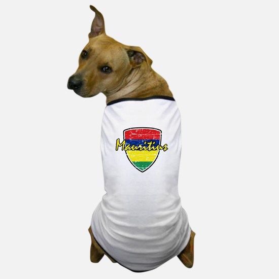 Mauritius distressed Flag Dog T-Shirt