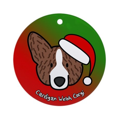 Cartoon Brindle Cardigan Corgi Christmas Ornament