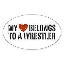 My Heart Belongs to a Wrestler Oval Decal