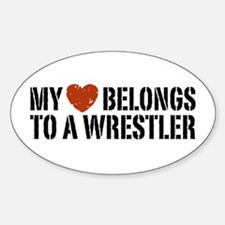 My Heart Belongs to a Wrestler Oval Decal