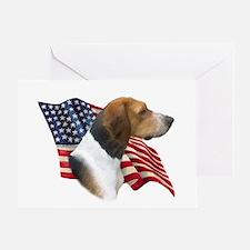 Am Foxhound Flag Greeting Card