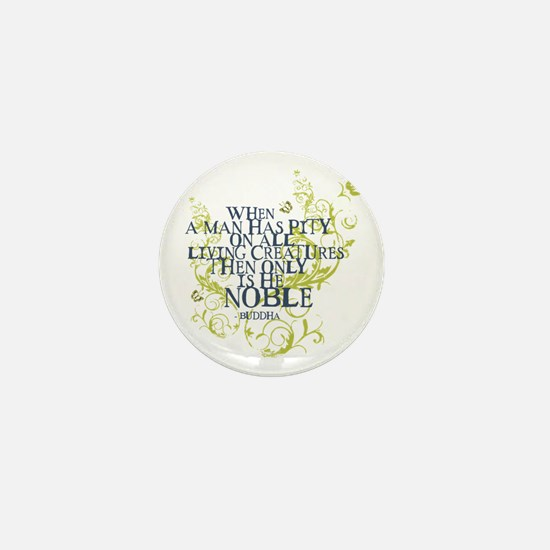Buddha Vine - Noble Text - Blue Green Mini Button