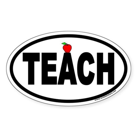 TEACH Euro Oval Sticker with Apple